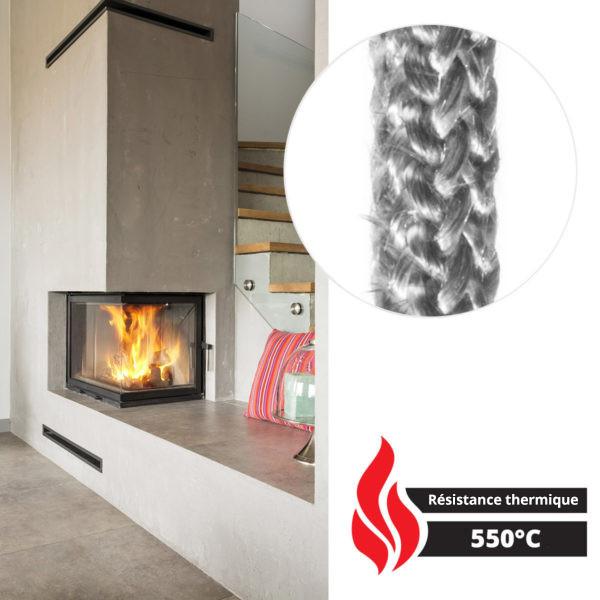 10 mm Scellant Gris Fonc/é R/ésistante /à la Temp/érature jusqu/à 550 /° C STEIGNER Corde en Fibre de Verre SKD02-10 2,5 m