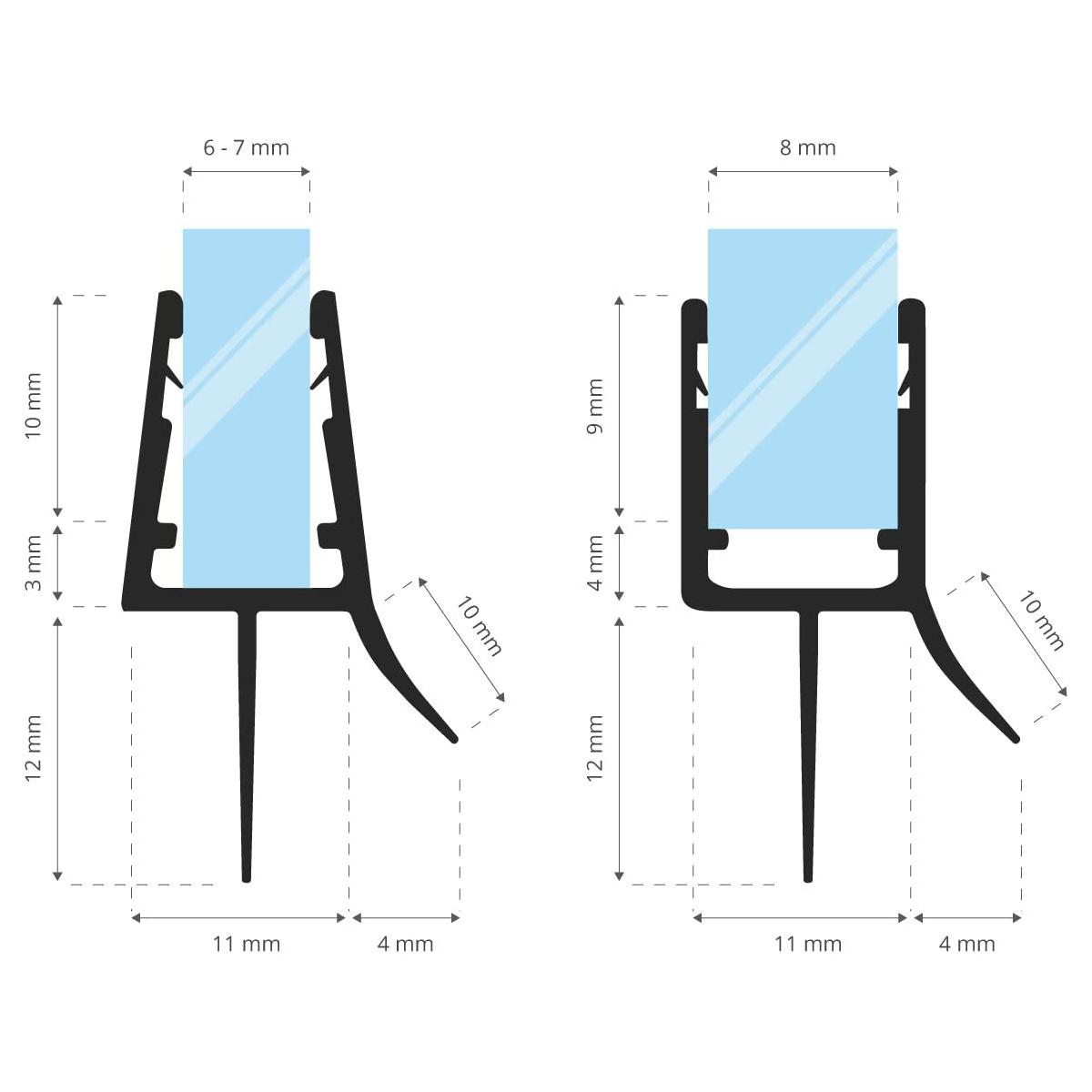STEIGNER 30cm Joint de douche arrondi courb/é pour les vitres d/'une /épaisseur 5mm// 6 mm// 7 mm// 8 mm UK09 Joint de remplacement