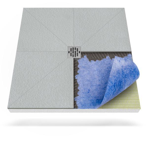 Steigner Receveur de douche avec tapis d'étanchéité avec drainage central