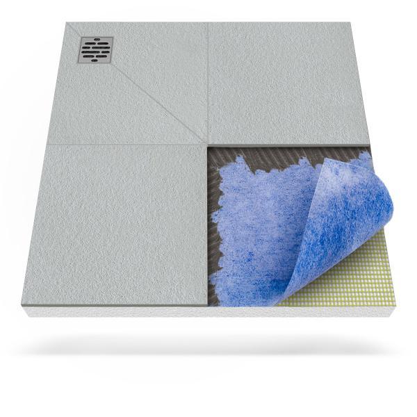 Steigner Receveur de douche avec tapis d'étanchéité avec drainage d'angle décentralisé